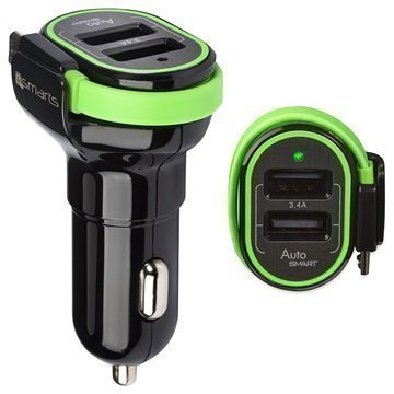 4smarts MultiPort USB / MicroUSB Car Charger Black / Green