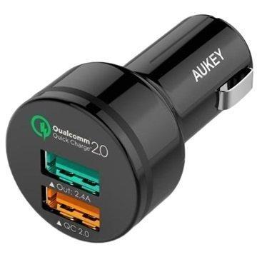 Aukey CC-T1 Dual USB Nopea Autolaturi Musta