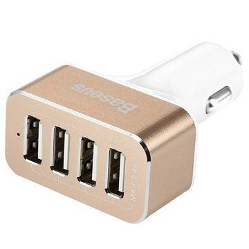 Baseus Smart Voyage Series Autolaturi 4 USB-Porttia Valkoinen / Kulta