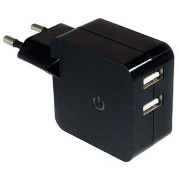 Dinic Kaksois-USB Matkalaturi Musta
