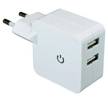 Dinic Kaksois-USB Matkalaturi Valkoinen