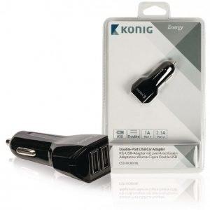 Kaksiporttinen USB yleissovitin autoon 1 A ja 2 1 A