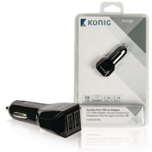 Kaksiporttinen USB yleissovitin autoon 2 1 A ja 2 1 A