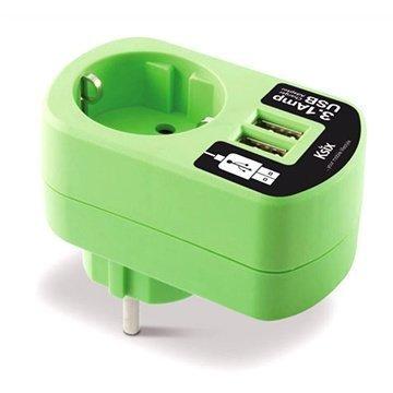Ksix Dual USB-Matkalaturi Vihreä 3.1 A