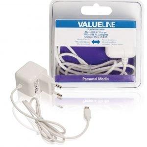 Micro USB -vaihtovirtalaturi Micro USB uros - vaihtovirtaliitäntä 1 00 m valkoinen 2.1A
