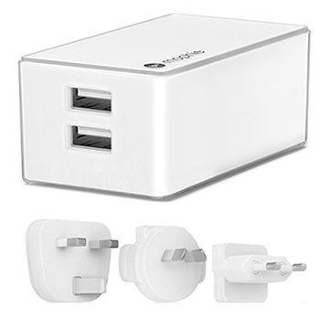 Mophie Dual USB Seinälaturi Valkoinen