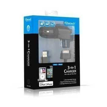 Naztech N300 laturisetti 3-IN-1 iPhone iPhone 3G 3GS iPhone 4 4S