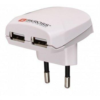 SKROSS Euro Dual USB Laturi Valkoinen