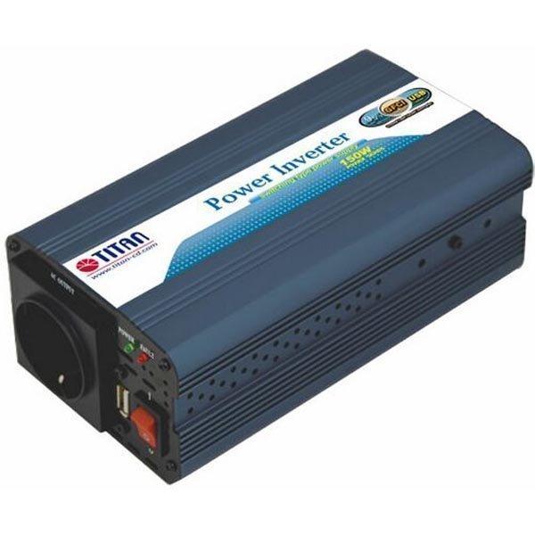 TITAN muuntaja 12V DC > 230V AC USB autoon 150W