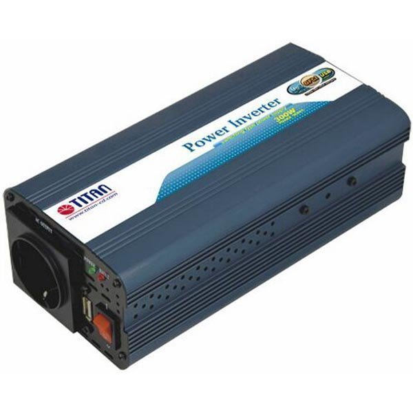 TITAN muuntaja 12V DC > 230V AC USB banaaniliitin 300W