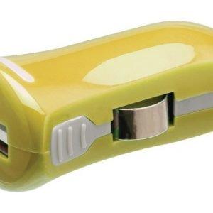 USB-autolaturi USB A naaras - 12 V autoliitäntä keltainen