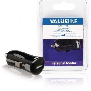 USB-autolaturi USB A naaras - 12 V autoliitäntä musta 2.1A