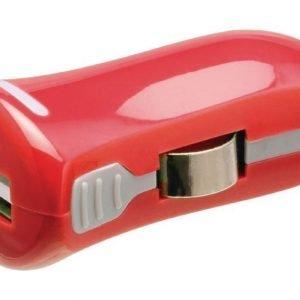 USB-autolaturi USB A naaras - 12 V autoliitäntä punainen