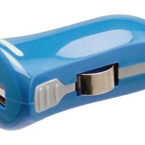 USB-autolaturi USB A naaras - 12 V autoliitäntä sininen