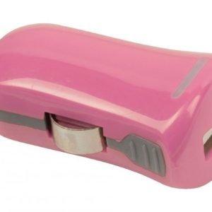 USB-autolaturi USB A naaras - 12 V autoliitäntä vaaleanpunainen