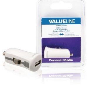 USB-autolaturi USB A naaras - 12 V autoliitäntä valkoinen 2.1A