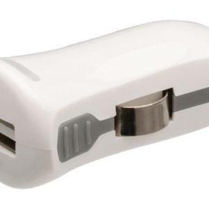 USB-autolaturi USB A naaras - 12 V autoliitäntä valkoinen