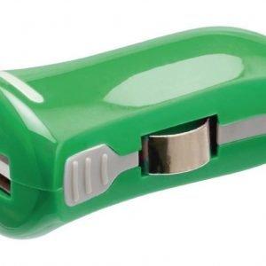 USB-autolaturi USB A naaras - 12 V autoliitäntä vihreä