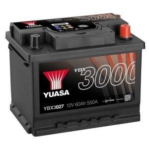 Yuasa YBX3027 12V 60Ah 550CCA SMF Käynnistysakku