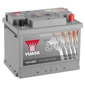Yuasa YBX5027 12V 62Ah 620CCA Silver High Perfomance SMF Käynnistysakku