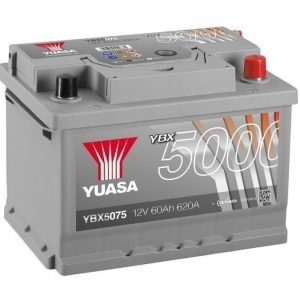 Yuasa YBX5075 12V 60Ah 620CCA Silver High Perfomance SMF Käynnistysakku