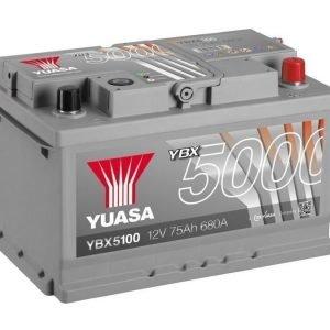 Yuasa YBX5100 12V 75Ah 680CCA Silver High Perfomance SMF Käynnistysakku